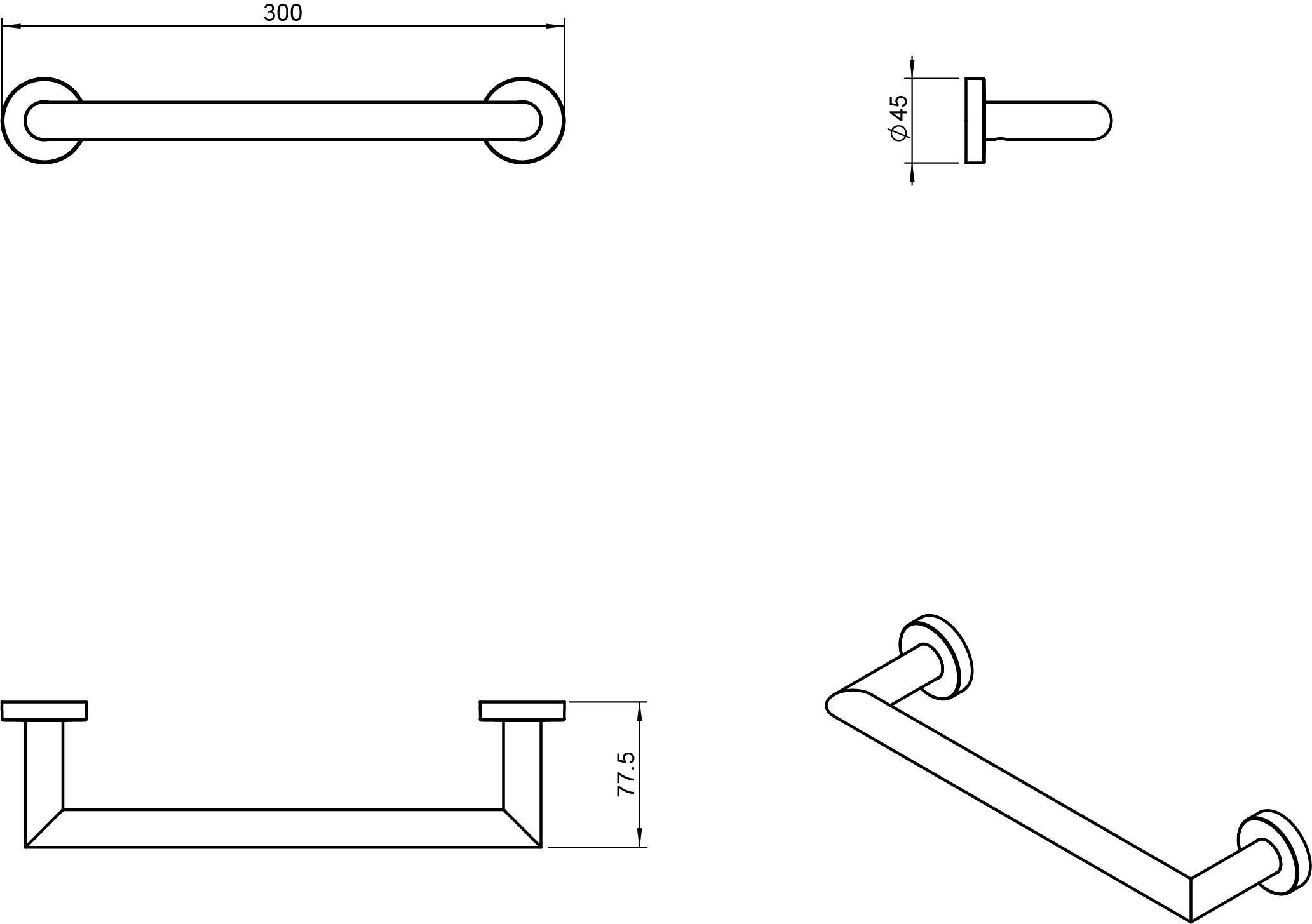 Kubic Cool Towel Rail 300mm