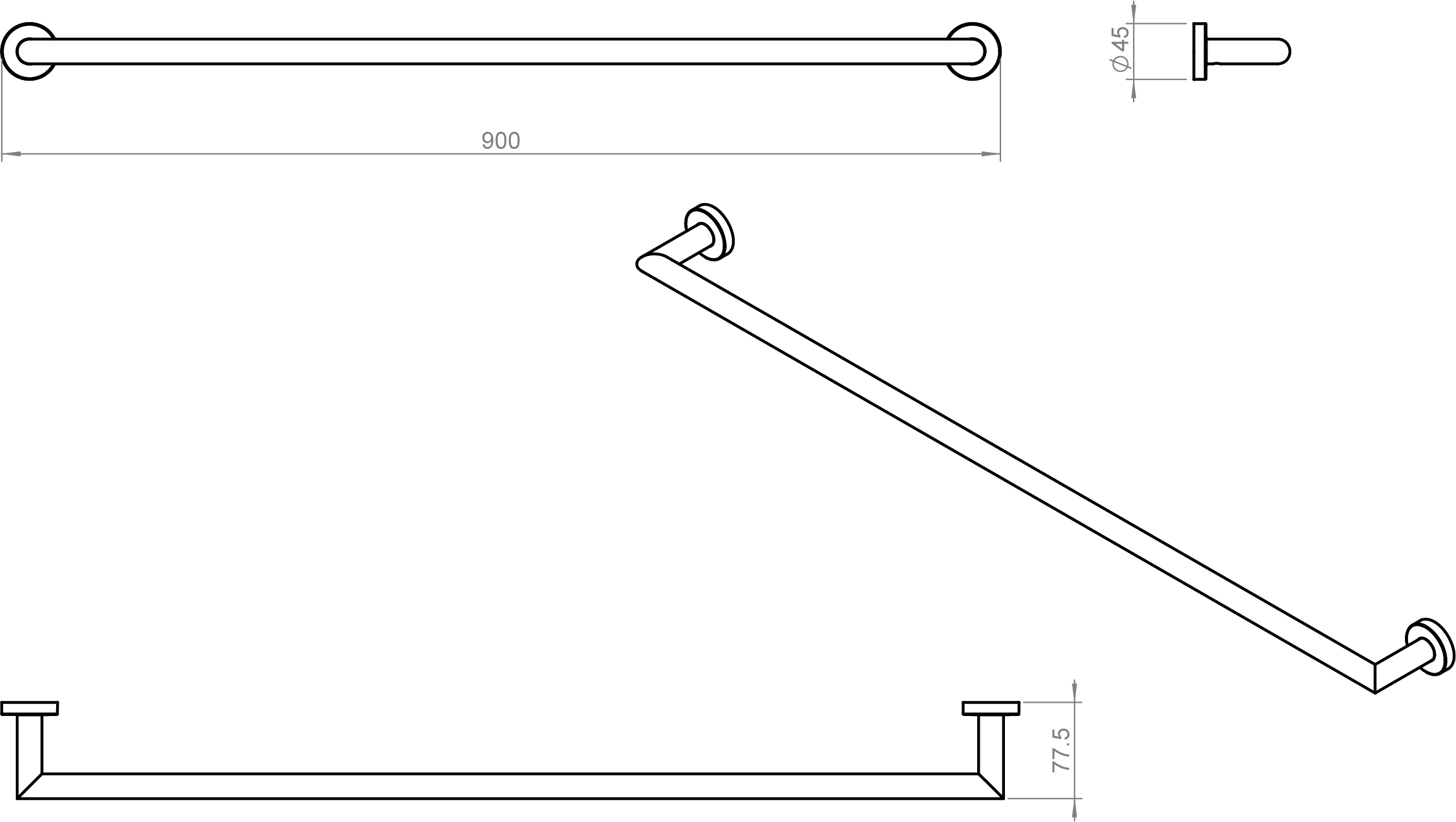 Kubic Cool Towel Rail 900mm
