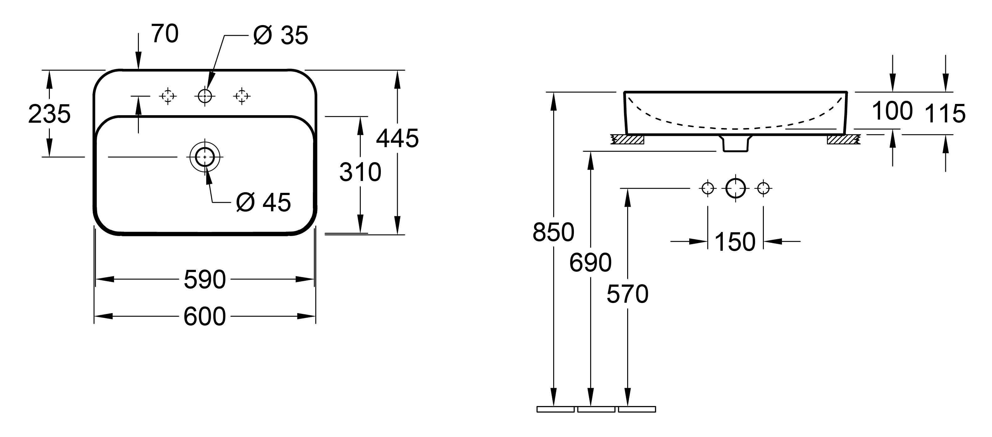 Finion 600 Counter Top Basin