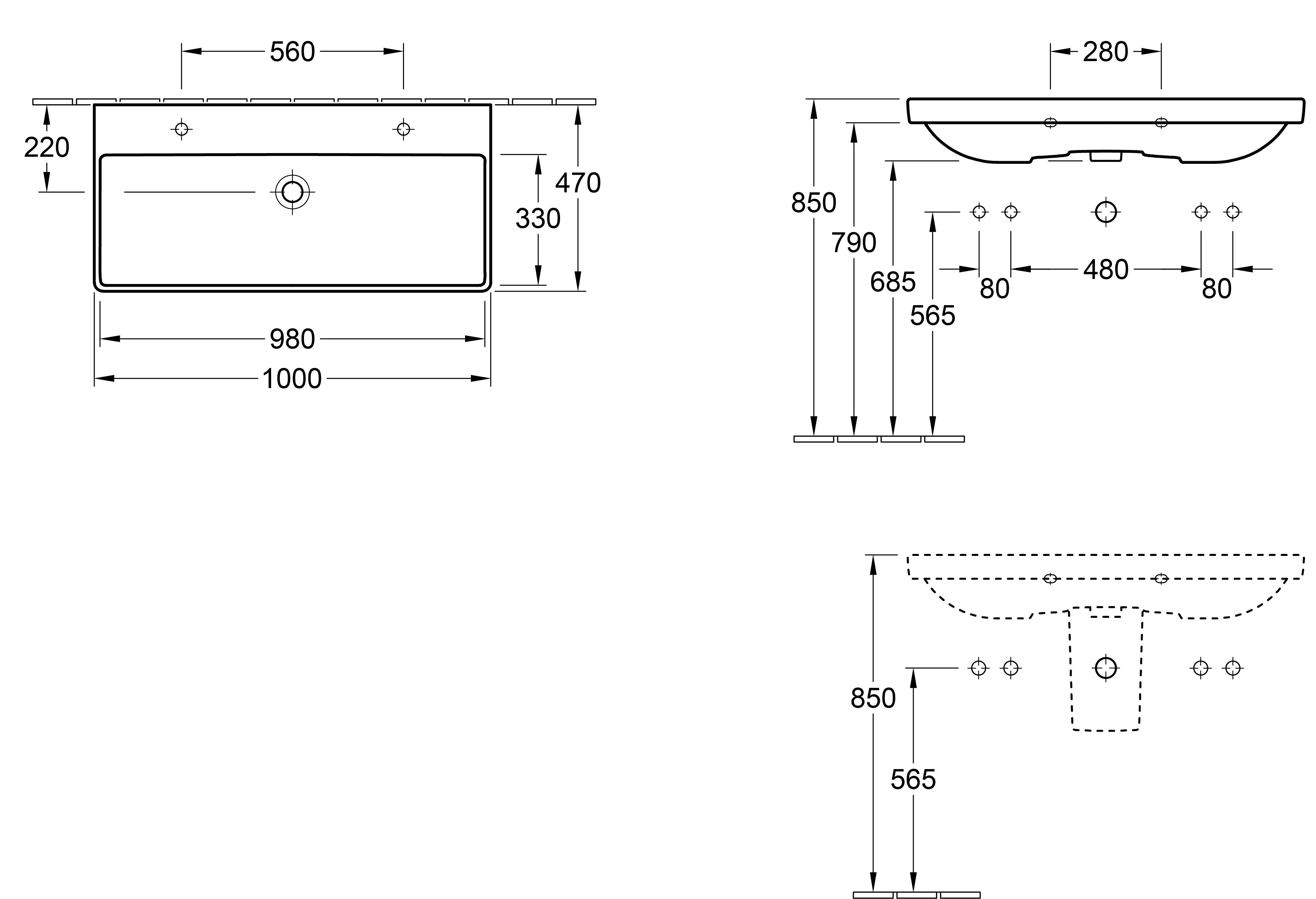 Avento 1000 Wall Basin 2 x 1 Tap Hole
