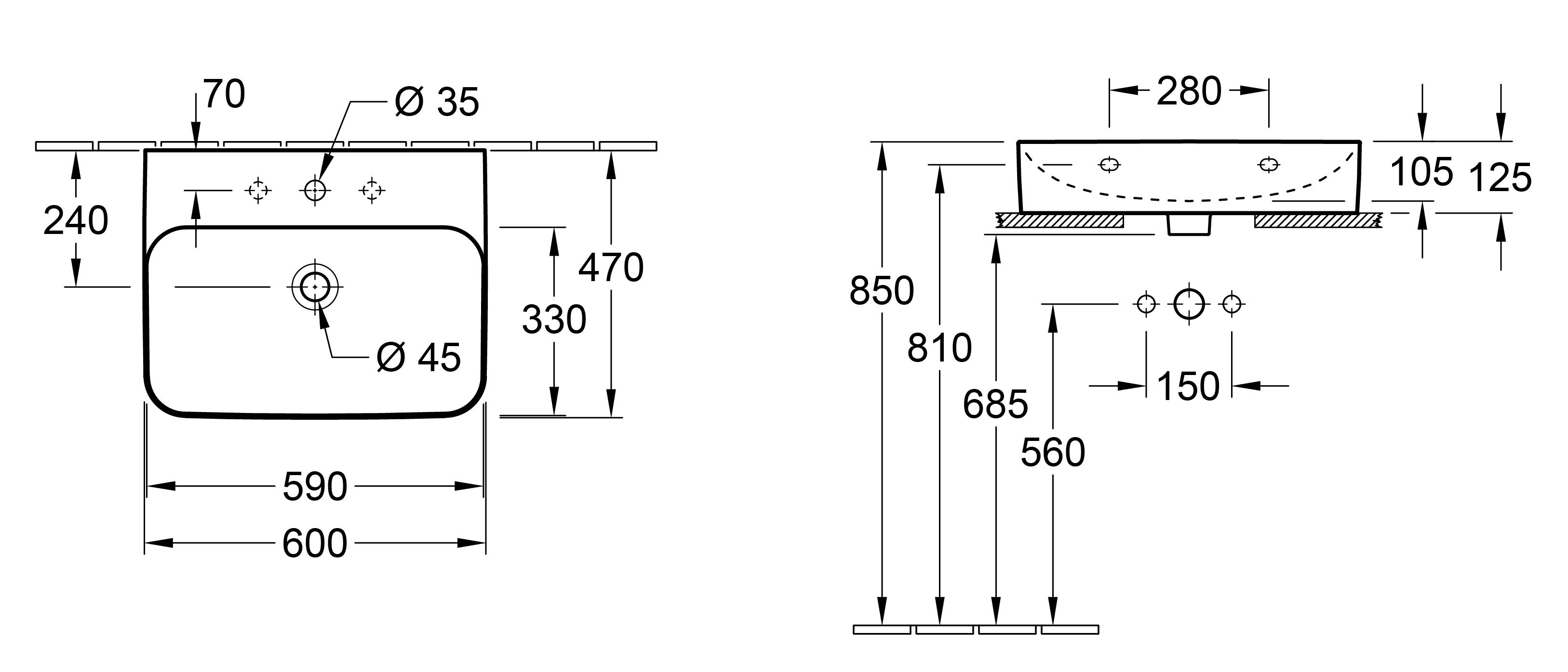 Finion 600 Wall Basin
