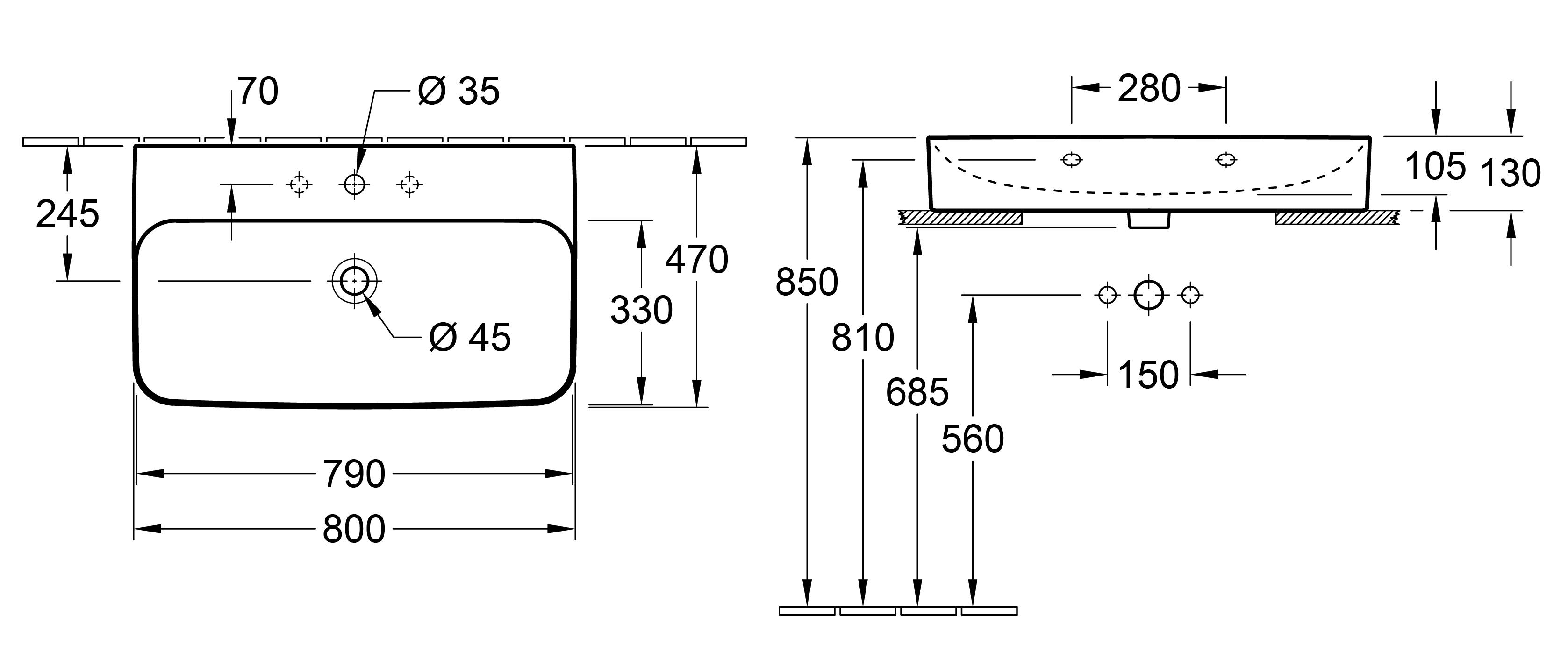 Finion 800 Wall Basin