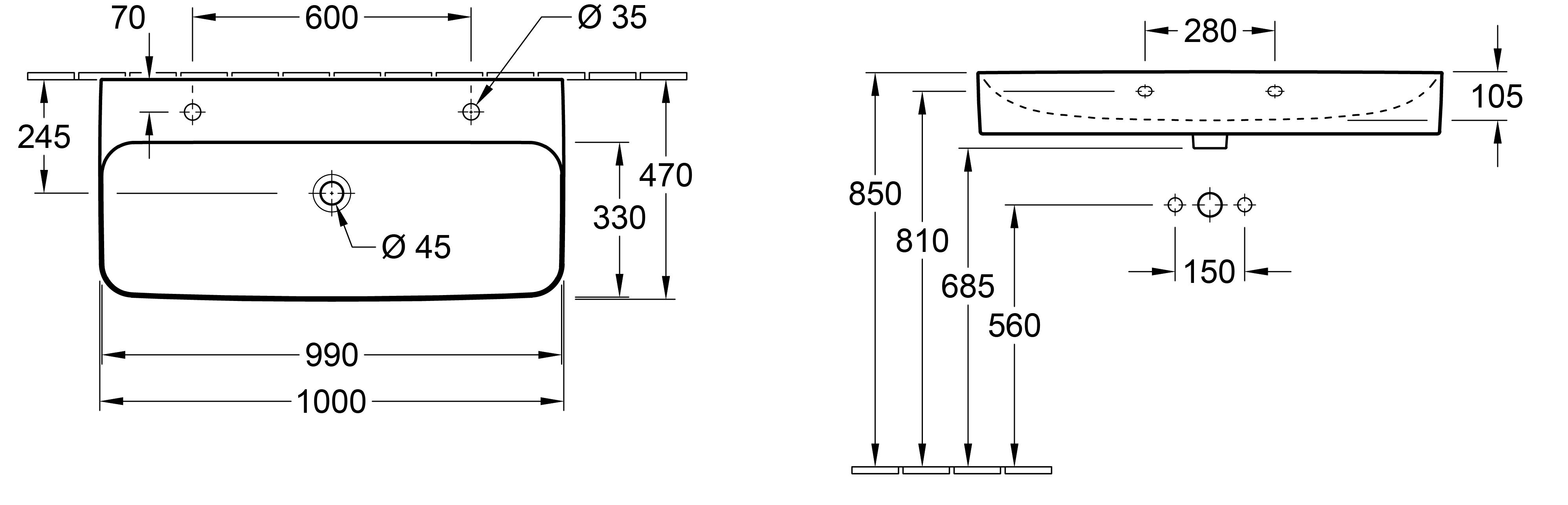 Finion 1000 Wall Basin 2 x 1 Tap Hole