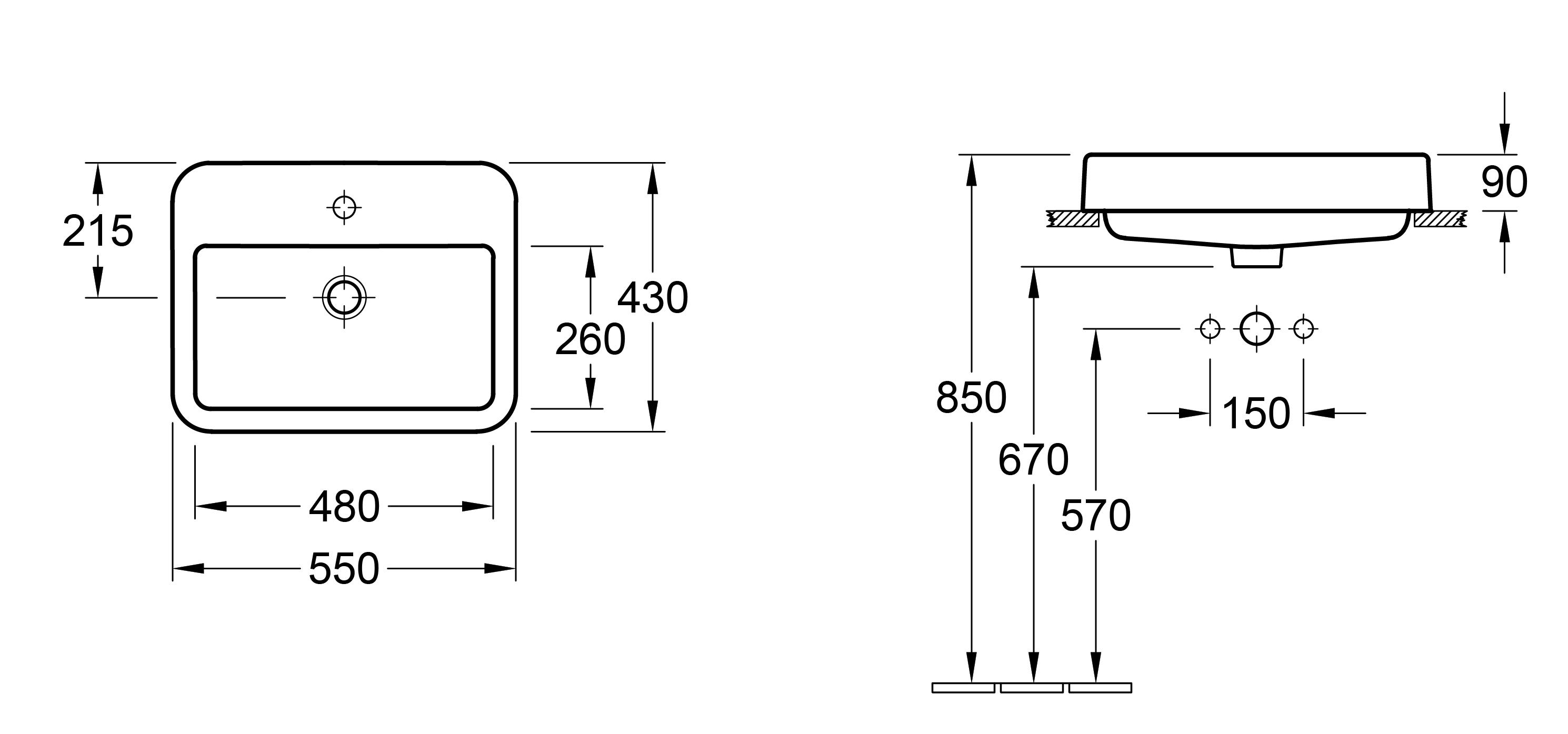 Architectura 550 Semi-Inset Basin