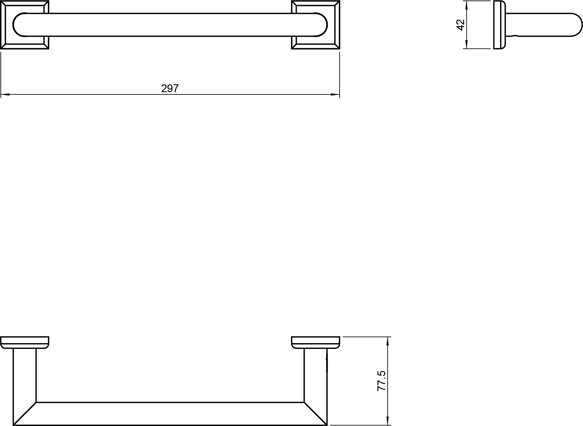 Kubic Class Towel Rail 300mm