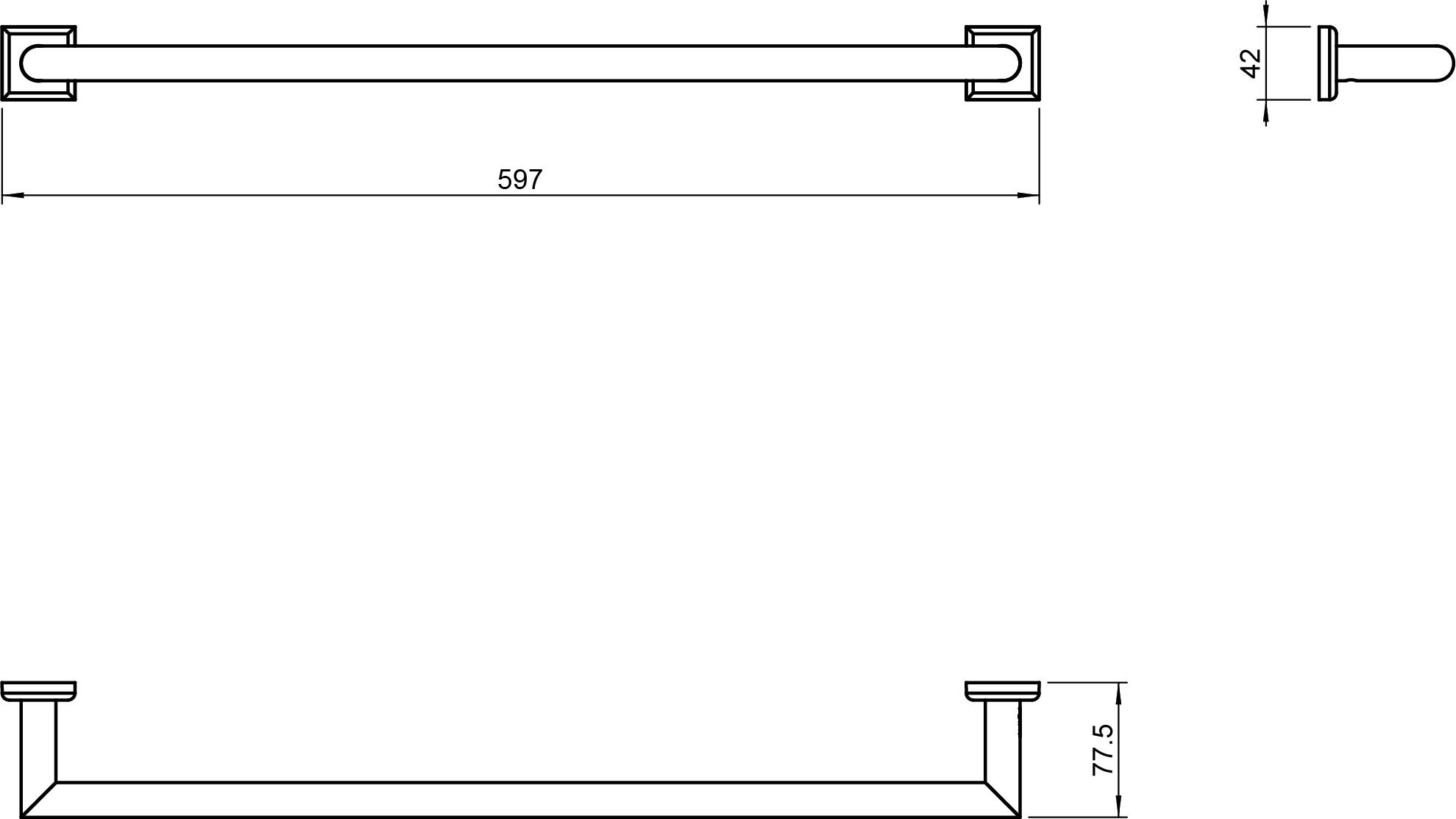 Kubic Class Towel Rail 600mm