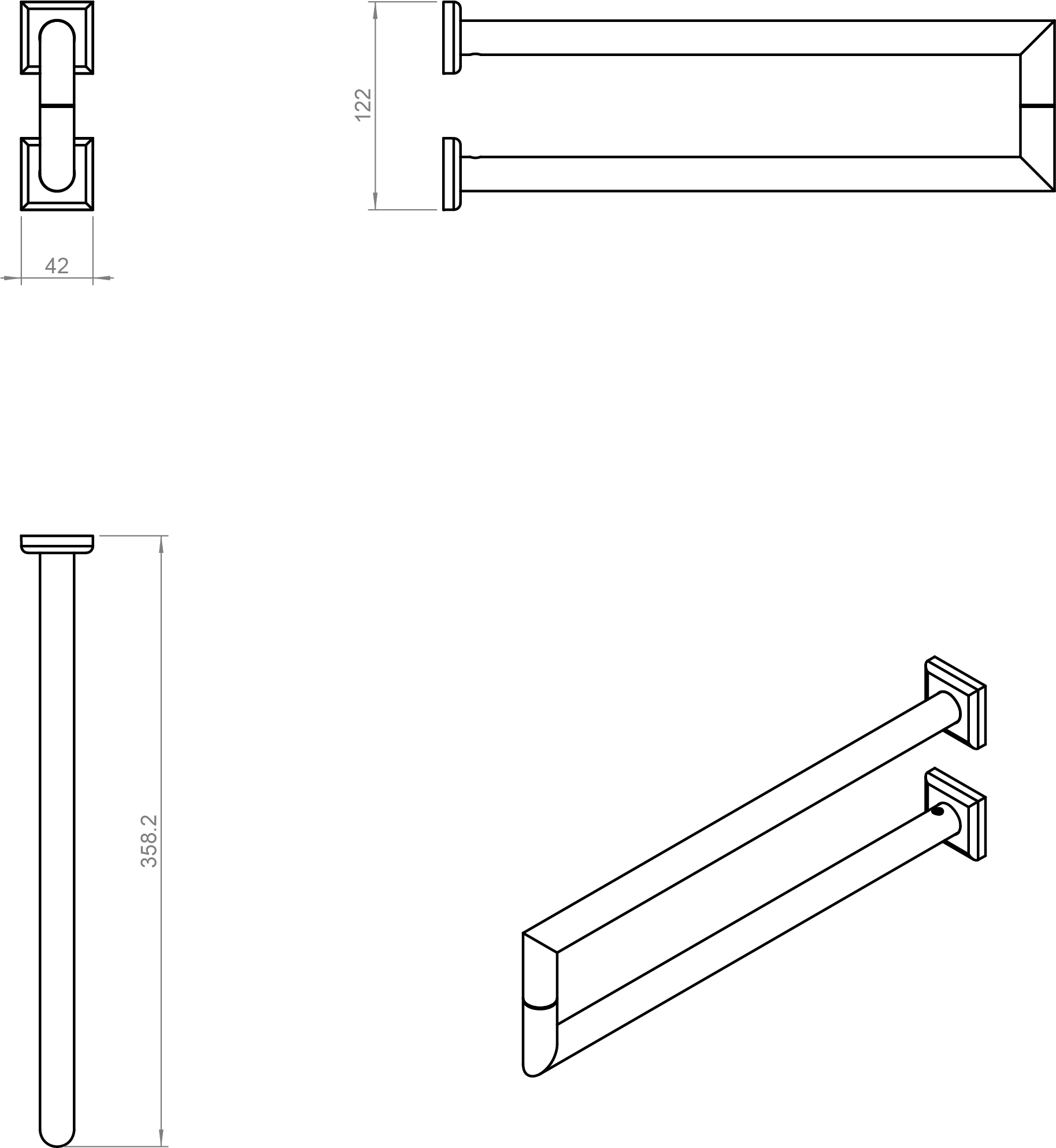 Kubic Class Lateral Towel Rail Square