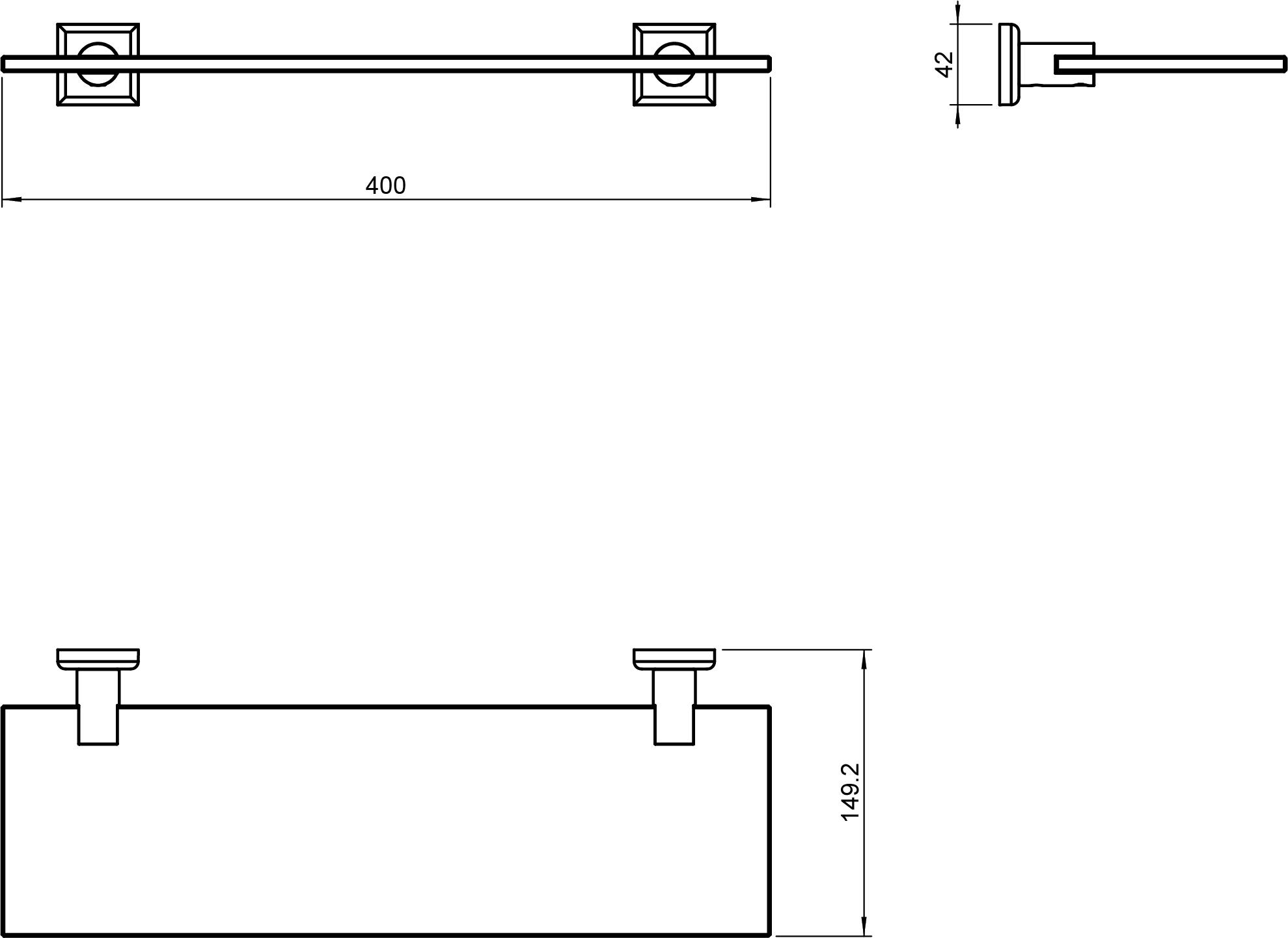 Kubic Class Glass Shelf 400mm Square