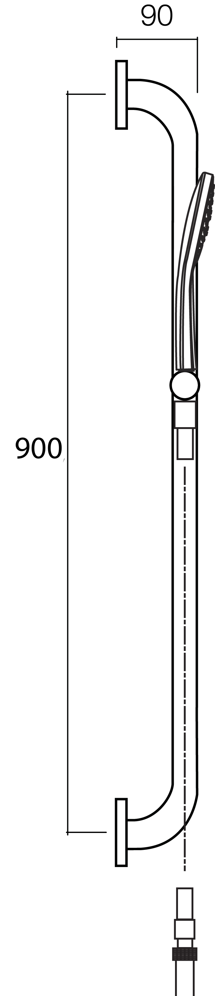 HansaViva Classic 1000 Grab Rail Set WELS 4 Star / 7.5Lpm