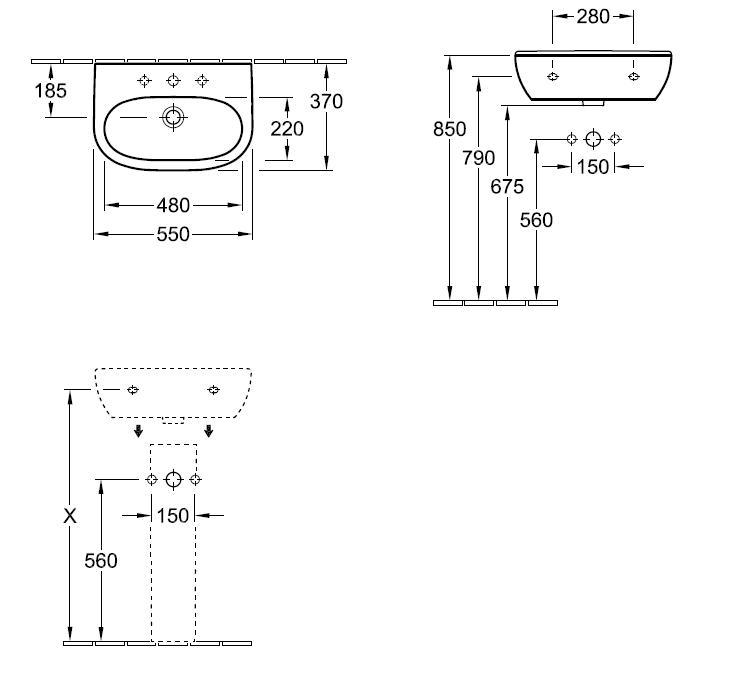 O.novo Wash Basin 550x370mm, 1 tap hole