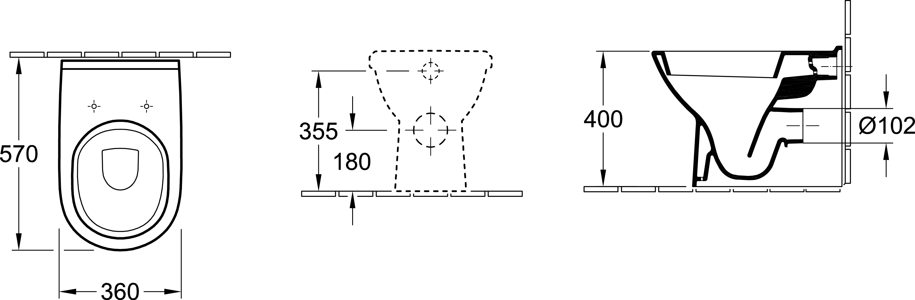 O.novo Wall-Face P-Trap Toilet Suite – 4.5/3L