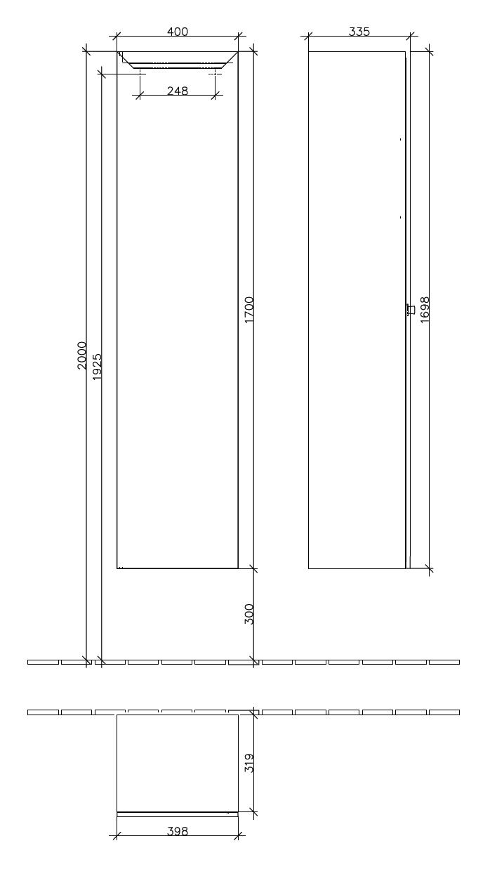 La Belle Tall Cabinet 1700 Gloss White