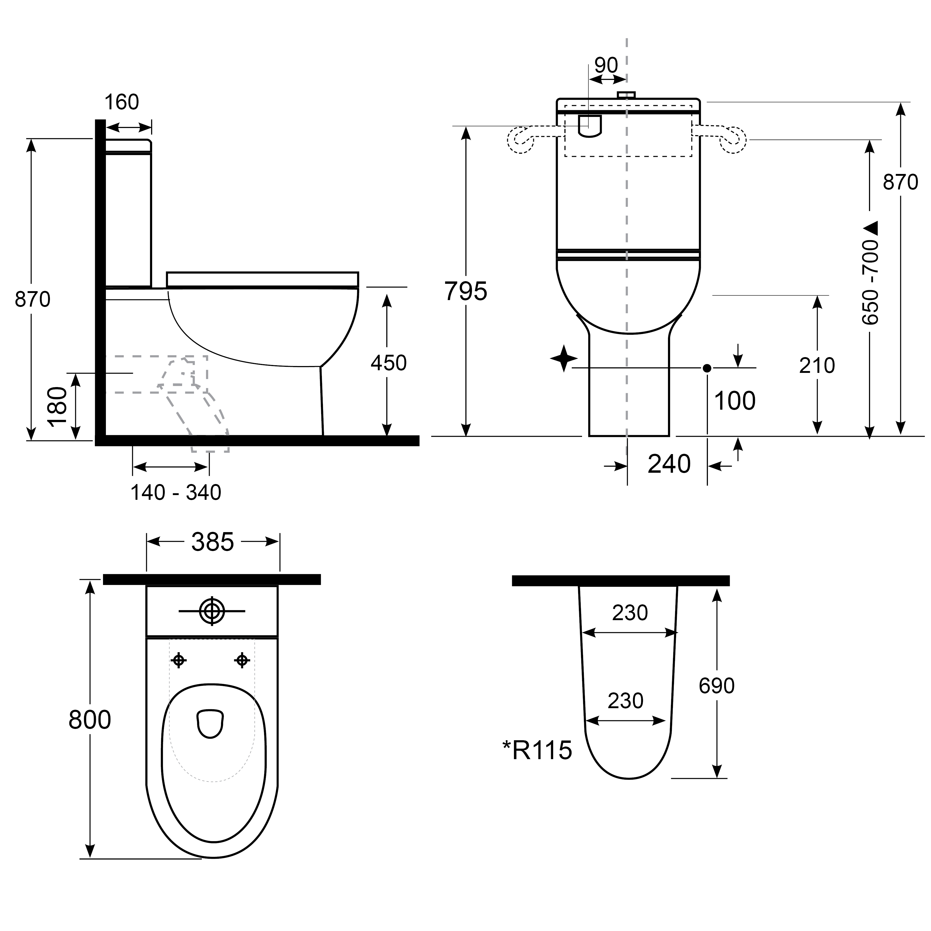 Alto Plus PWD Back-To-Wall Toilet Suite with Single Flap Seat