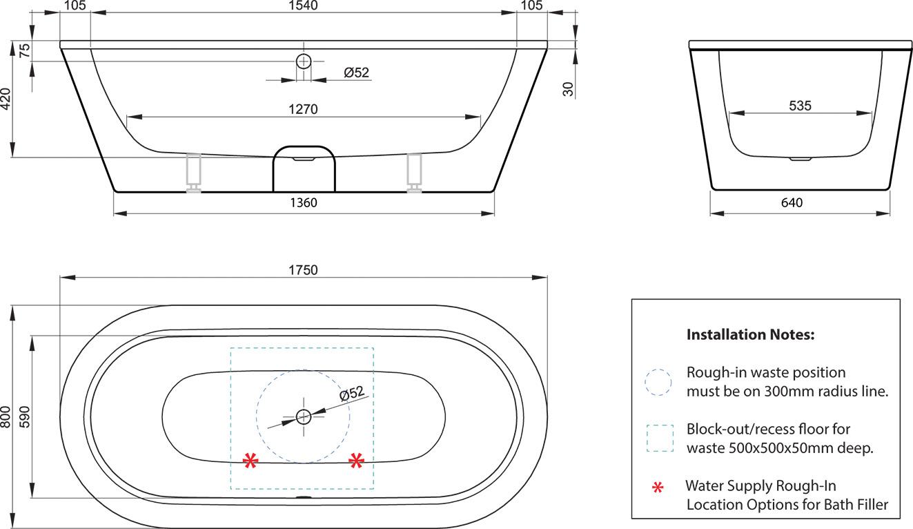 BetteStarlet 1750 Oval Freestanding Bath