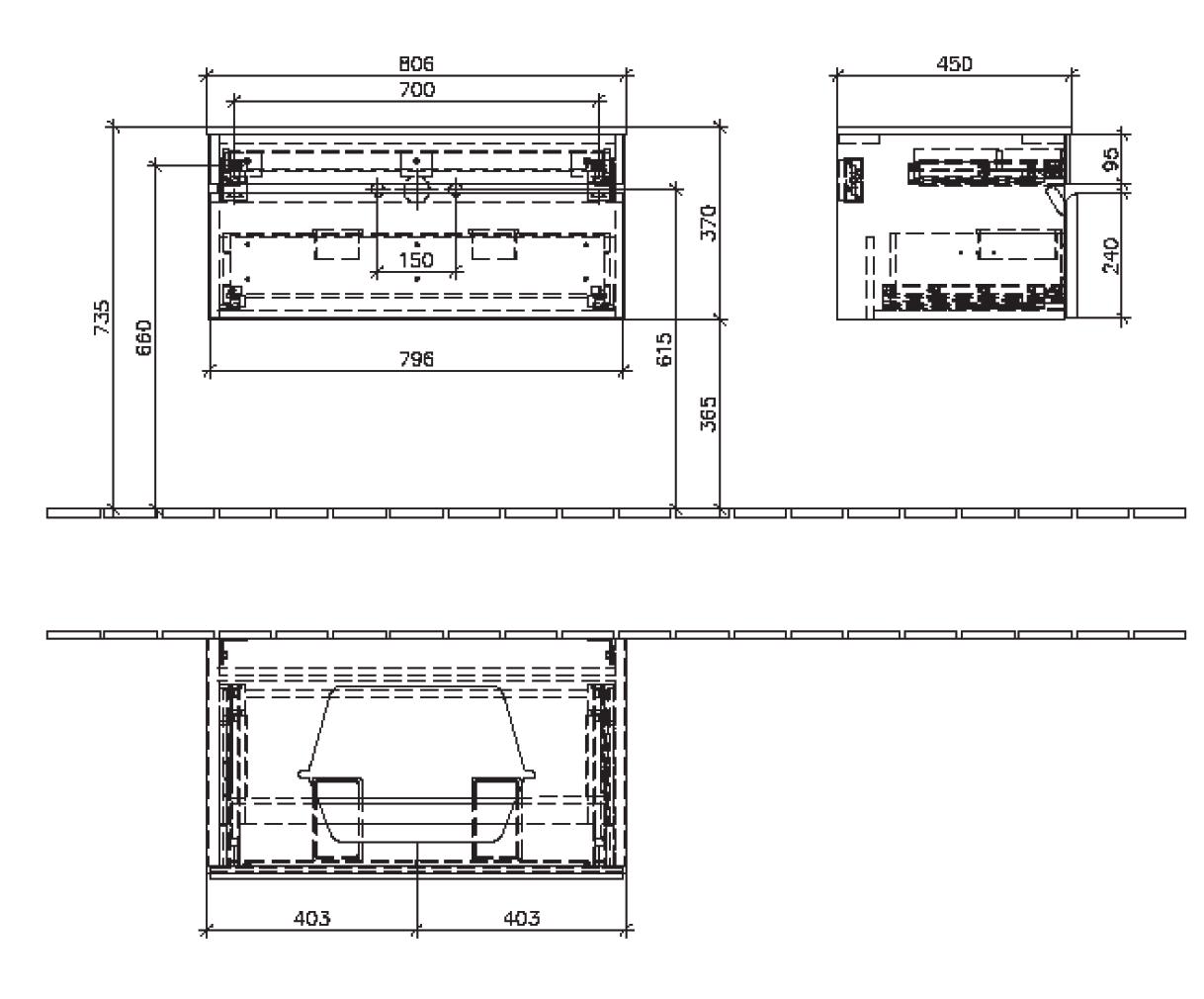 Memento Cabinet 806 Centre 1 Drawer