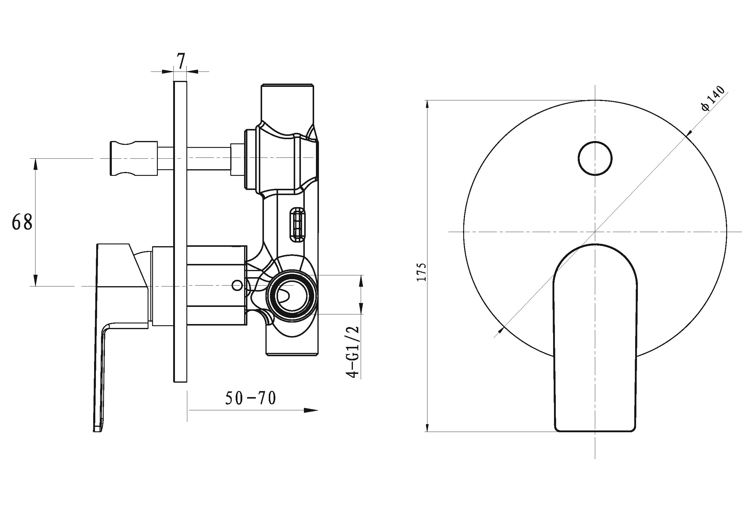 Evoke Round Diverter Mixer