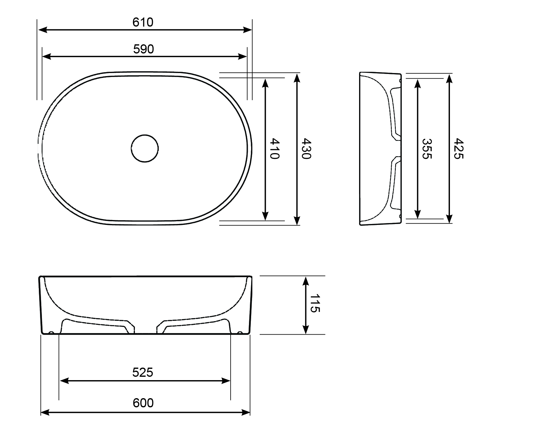 Grace 610 Oval Counter Top Basin