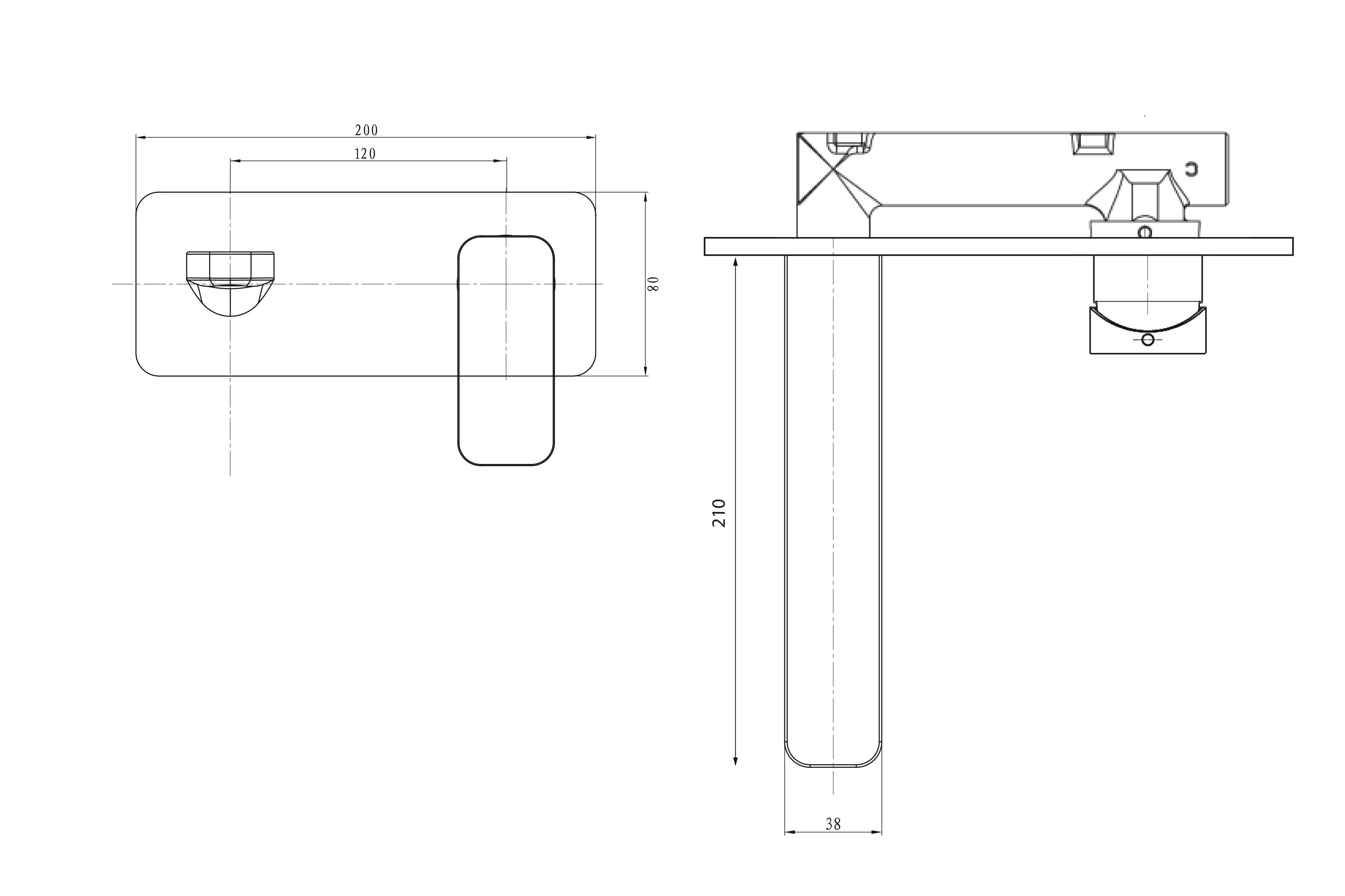 Kubic Wall Mounted Basin/Bath Mixer