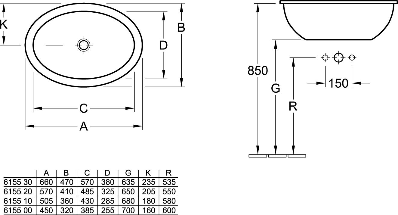 Loop Oval Drop-In Basin 660x470mm