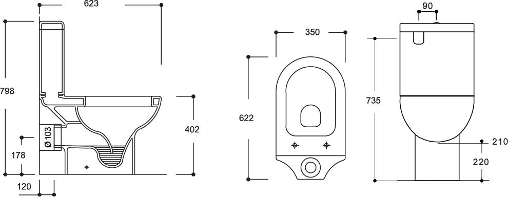 Mode Close Coupled Toilet Suite P-Trap