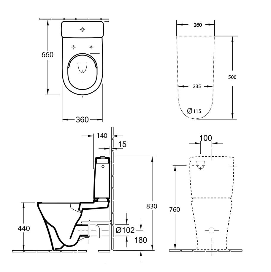 O.novo 2.0 Direct Flush Back To Wall Toilet