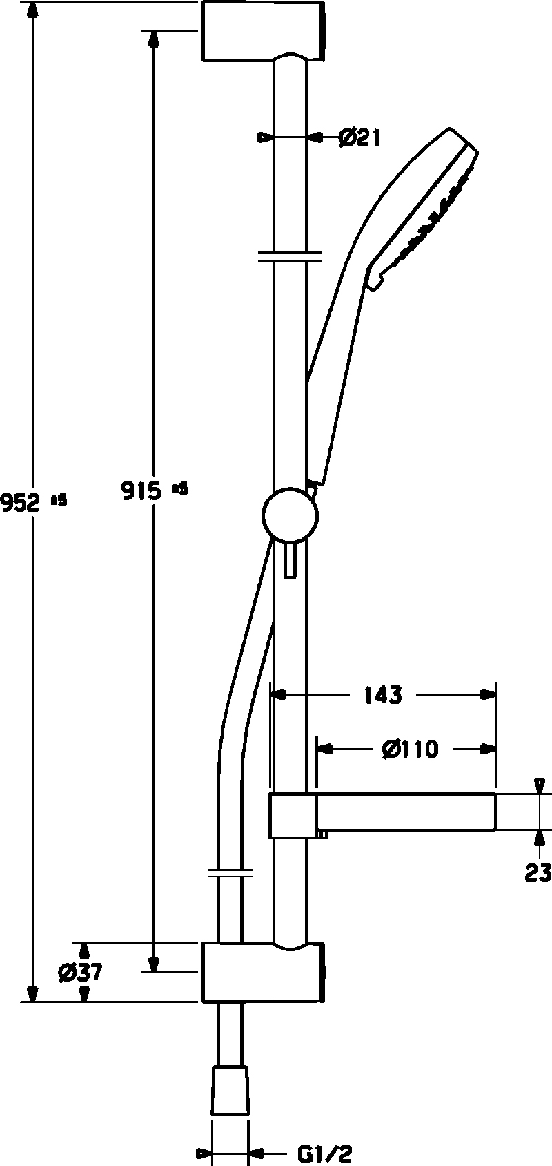 HansaViva Trio 100/900mm Rail Set 3 Spray