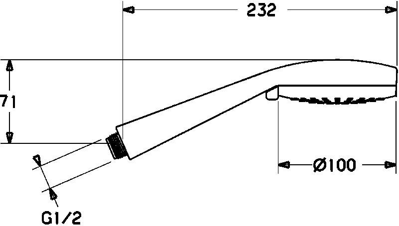 HansaViva Hand Piece - 100mm Single Spray