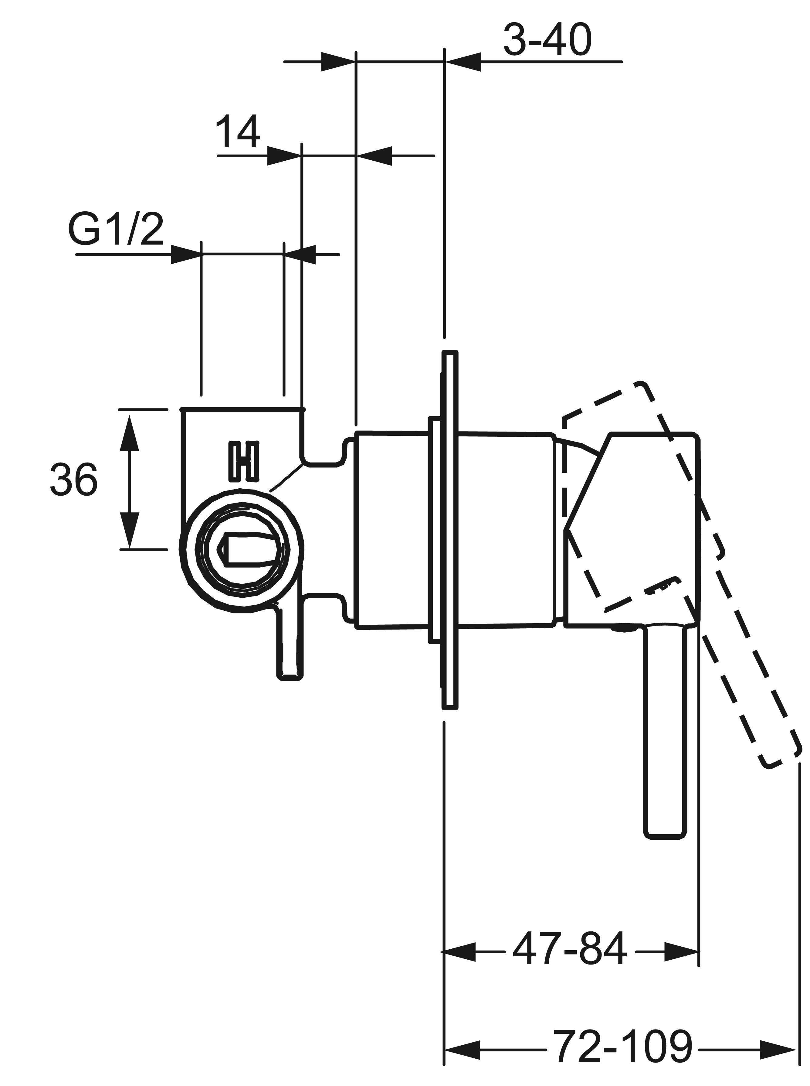 HansaVantis Pin Shower Mixer - Compact