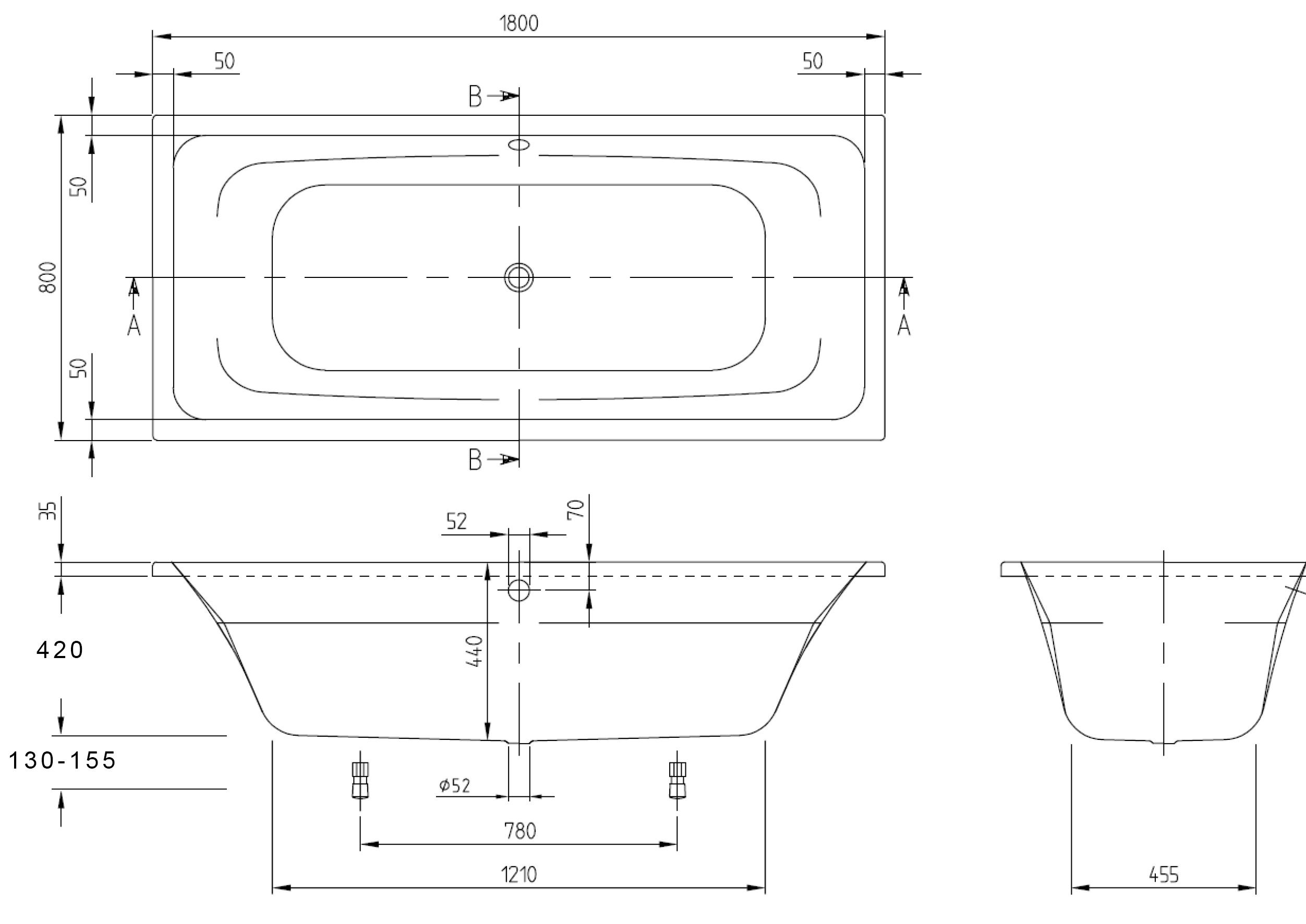 Targa Bath 1800 x 800 w/- OF