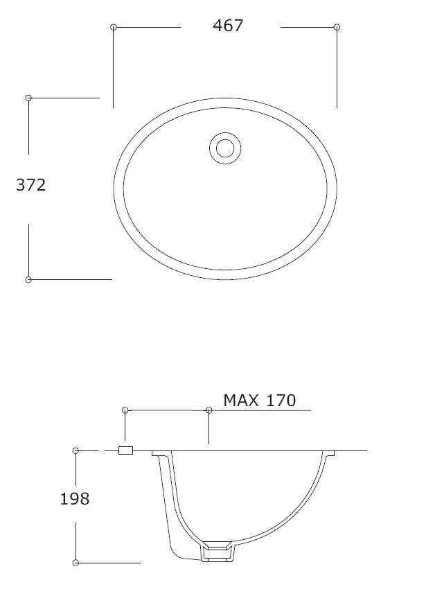 Azure Oval Under-Counter Basin