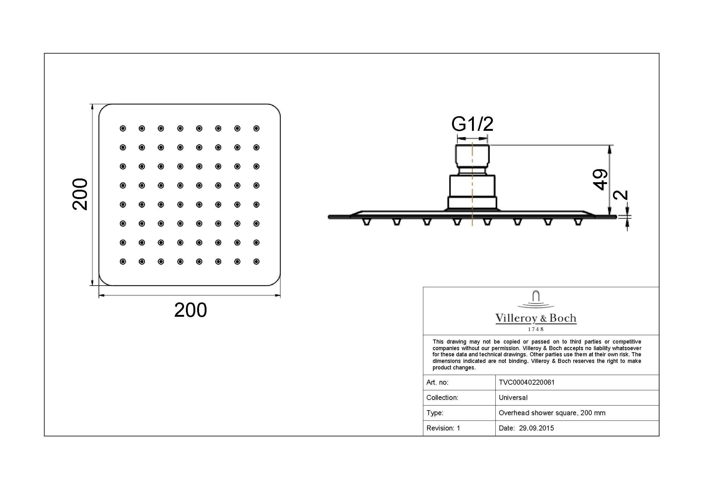 Architectura 200 SQ Combination Shower