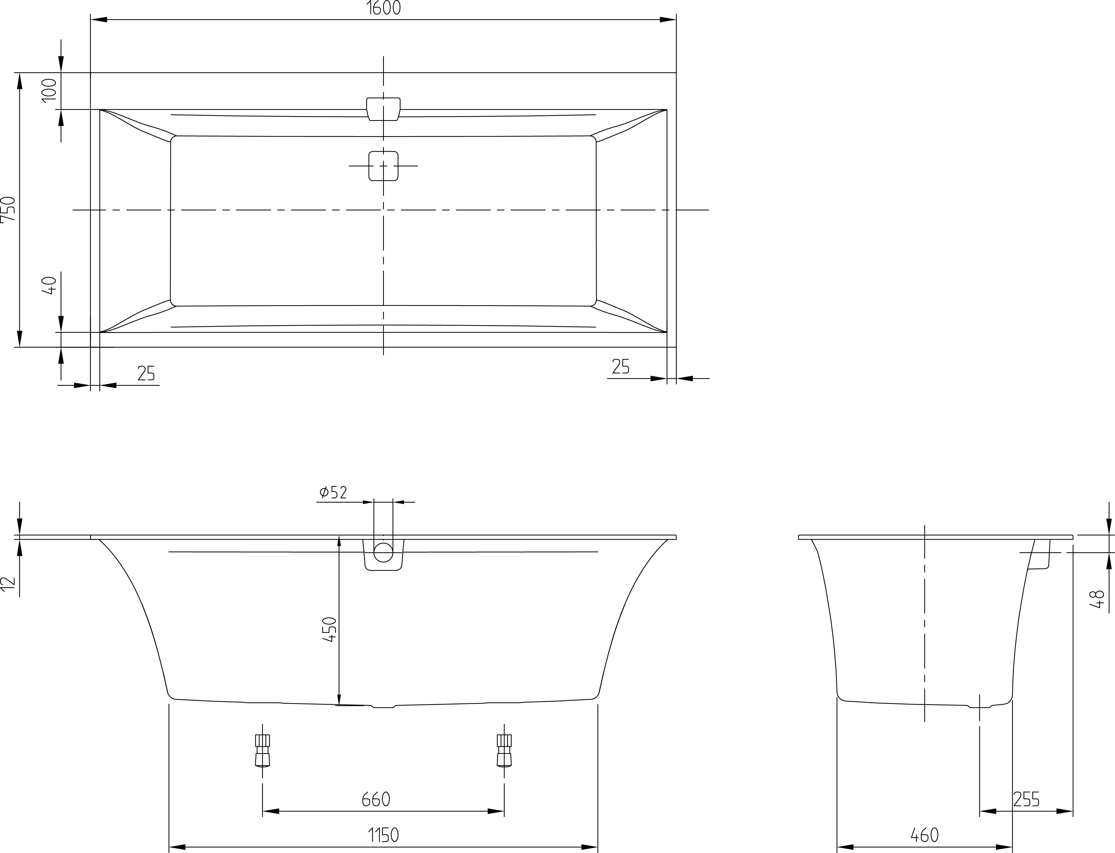 Squaro Edge Bath 1600 w/- Bath Filter WH