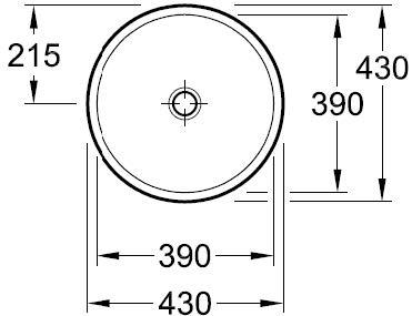 Loop Vessel Basin - Round Semi Inset 430mm