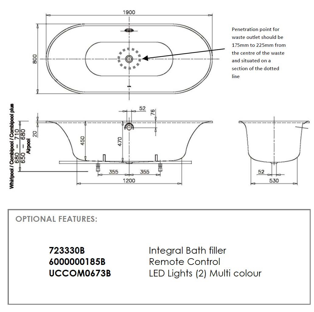 Cetus 180x80 Whisper C/pool & Heater