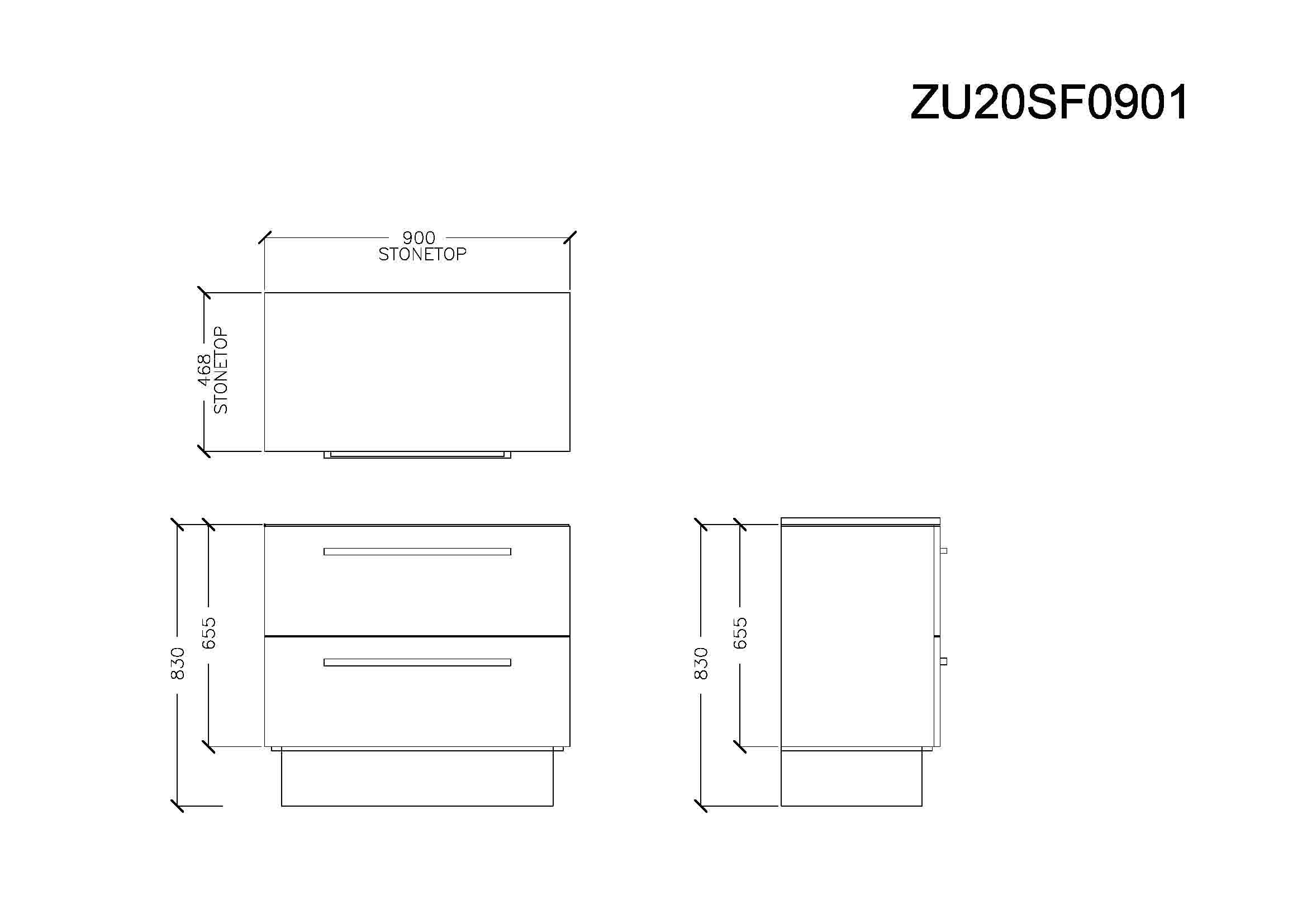 Zeta 900 Floor Cabinet with Stone Top & Under Counter Basin