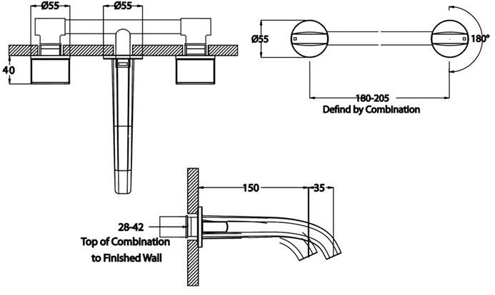 Evo Basin Set - Wall Mounted