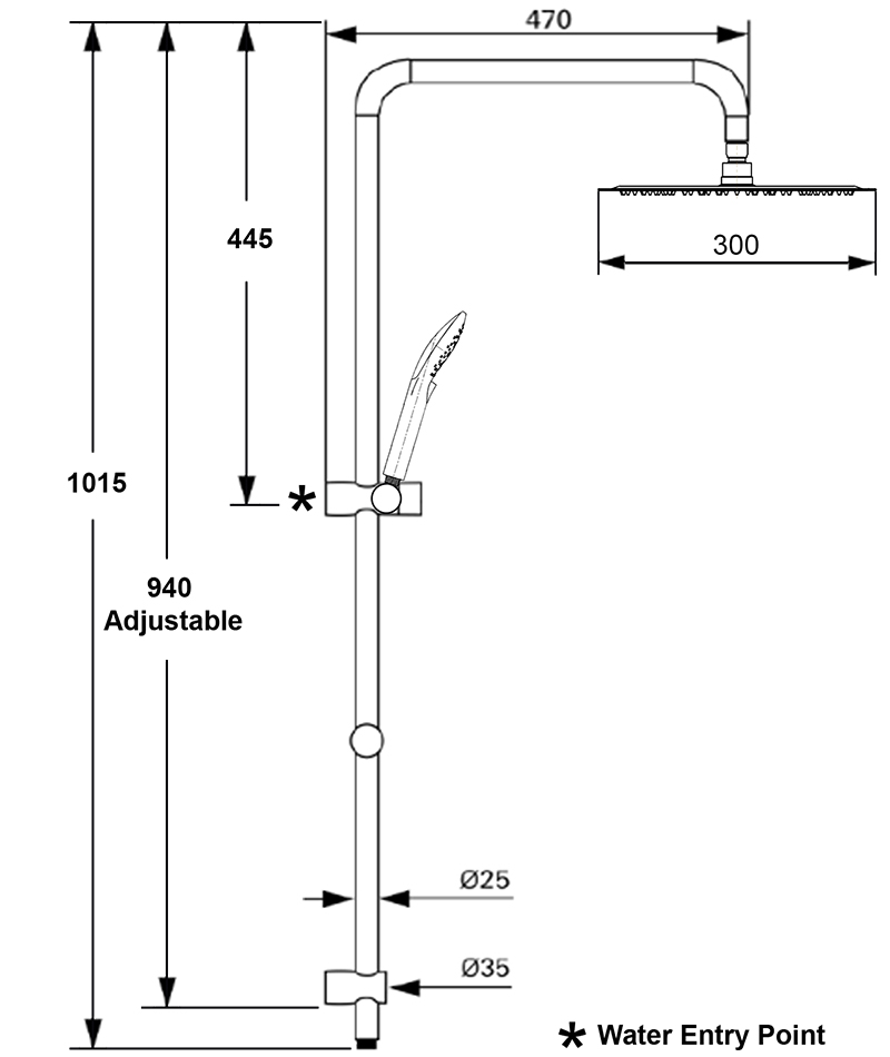 Architectura 300 SQ Shower System 9LPM