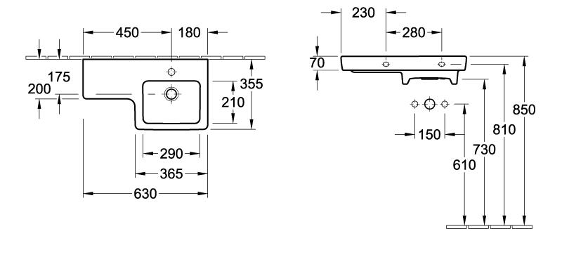 Subway Asymmetric Square Wash Basin - Right hand bowl
