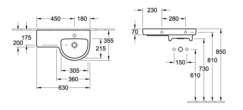 Subway Asymmetric Round Wash Basin - Right hand bowl