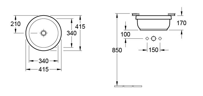 Architectura 340 Round Under Counter Basin