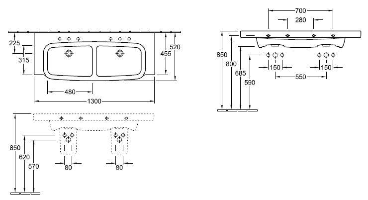 Sentique Double Basin 1300mm