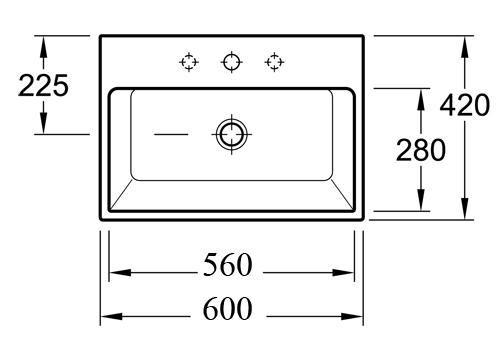 Memento Counter Top Basin 600