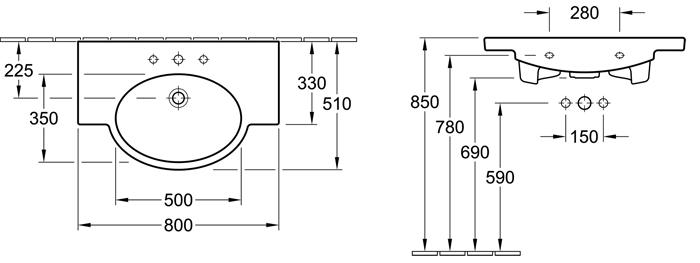 Variable Single Bowl Vanity 800mm
