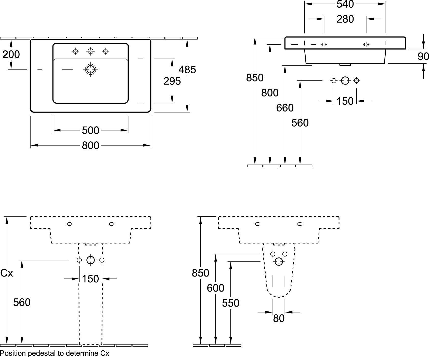 Architectura Single Vanity Basin (800mm)