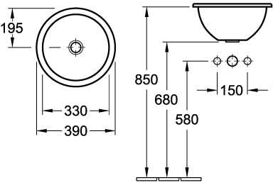 Loop Round Drop-In Basin 390mm