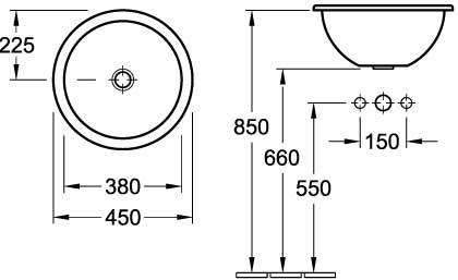 Loop Round Drop-In Basin 450mm