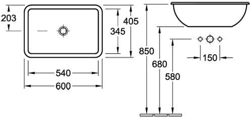 Loop Rectangle Drop-In Basin