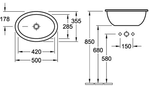Loop Oval Drop-In Basin 505x360mm