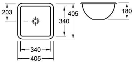 Loop Square Under-Counter Basin 405mm