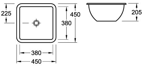 Loop Square Under-Counter Basin 450mm